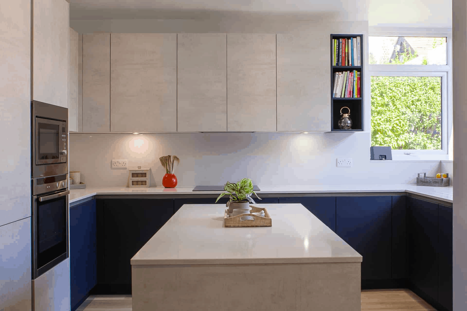 Modern Marble Kitchen With Blue Finish